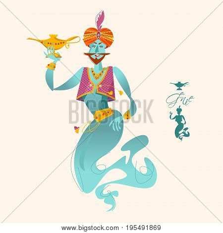 Happy genie with magic lamp. Vector illustration