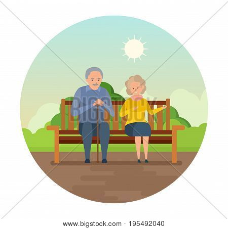 Elderly lovely couple outdoors and healthy lifestyle. Grandparents are sitting on a bench in the park, smiling and speaking. Vector illustration isolated in cartoon style.