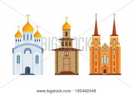 Concept orthodox church, christian church. Christian chapel, cathedral. Worship, divine power, architectural structures. Place for prayer, treatment to God. Orthodox christianity Vector illustration