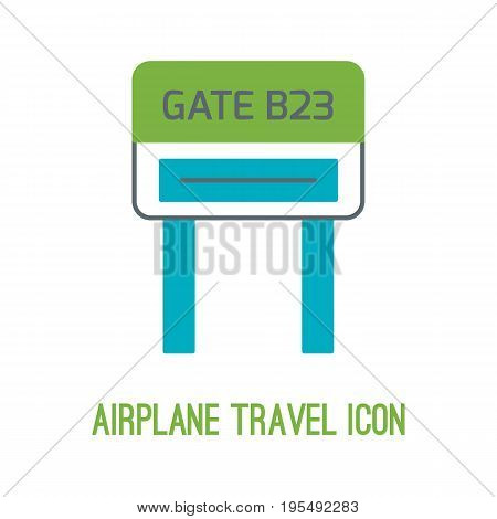 Vector illustration of airplane travel in thin lined style with isolated airport gate. Can be used as logo or element of your design for travel agency.
