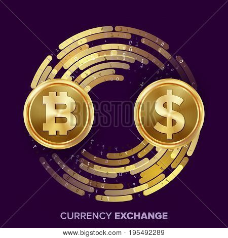 Digital Currency Money Exchange Vector. Bitcoin, Dollar. Fintech Blockchain. Gold Coins With Digital Stream. Cryptography. Conversion Commercial Operation. Business Investment