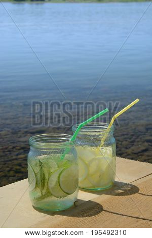 Glasses of lime lemonade outdoor. life style