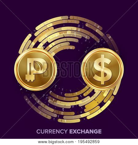 Digital Currency Money Exchange Vector. Peercoin, Dollar. Fintech Blockchain. Gold Coins With Digital Stream. Cryptography. Conversion Commercial Operation. Business Investment