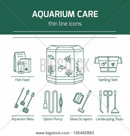 Thin line vector icons - aquarium care tools. Outline isolated signs of tools and accessories for fish tank.