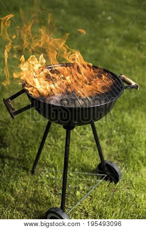 Grill on the garden, barbecue and fire background