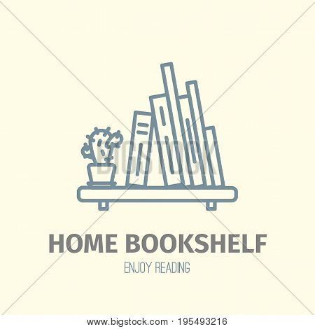 Thin lined book shelf icon. Vector isolated on white outlined sign of books on home shelf in front top view.