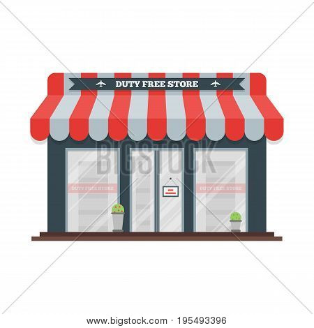 Vector flat icon of Duty Free shop facade at airport. Isolated illustration of store building for tax free airport shopping.