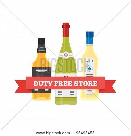 Vector flat icon of alcohol in Duty Free shop at airport. Isolated illustration of different alcolol bottles for tax free airport shopping.