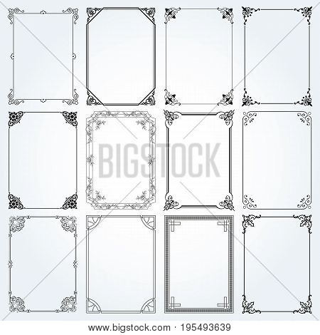 Decorative frames and borders standard rectangle proportions backgrounds vintage design elements set 2