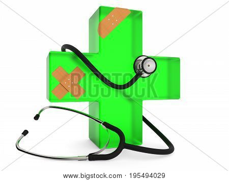 Green cross with stethoscope and plaster isolated on white background 3D rendering