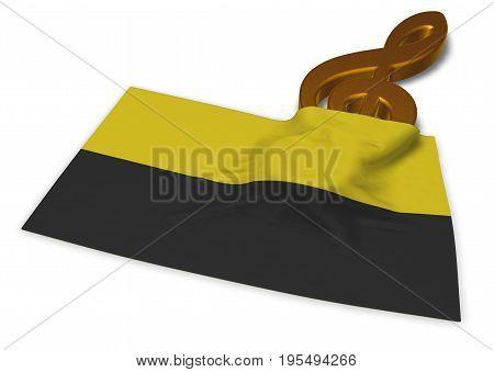 clef symbol and flag of saxony-anhalt - 3d rendering