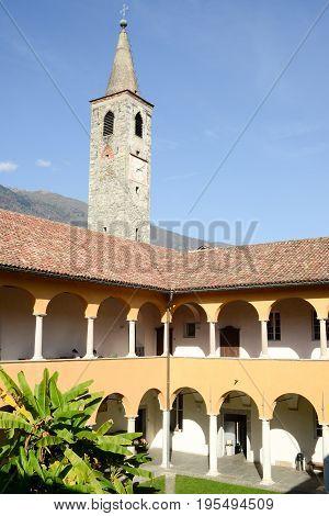 Ascona, Switzerland - 19 October 2014: Church of S. Maria della misericordia and Papio college at Ascona on the italian part of Switzerland