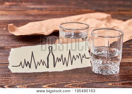 Heart illness as result of alcoholism. Tachycardia, heart problems and alcohol addiction.