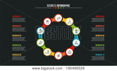 Business data visualization. Abstract elements of cycle diagram with 10 steps, options, parts or processes. Vector business template for presentation. Creative concept for infographic. Process chart.