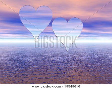 Two transparent hearts on a sunset sky - digital artwork.