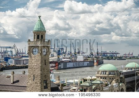 HAMBURG, GERMANY - JULY 14, 2017: The St. Pauli Piers, German: St. Pauli Landungsbrucken, are one of Hamburg's major tourist attractions in St. Pauli