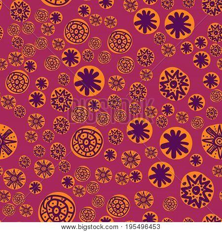 Seamless Childish Print of Stylized Flowers Randome Pattern