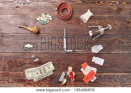 Narcotic addiction, illegal drug trafficking. Save time and stop use narcotics.
