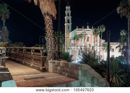 The Wishing Bridge And St. Peter's Church At Night In Old City  Yafo, Israel.