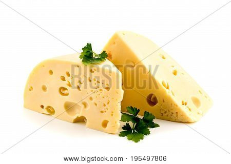 Cheese With Parsley On A White Background