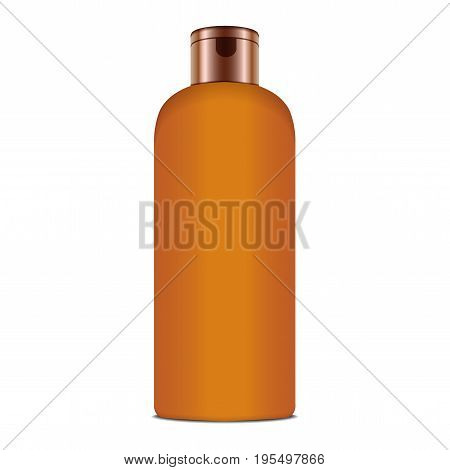 Sunscreen Blank Plastic Pack Bottle. Vector Realistic Mock up Template for your design