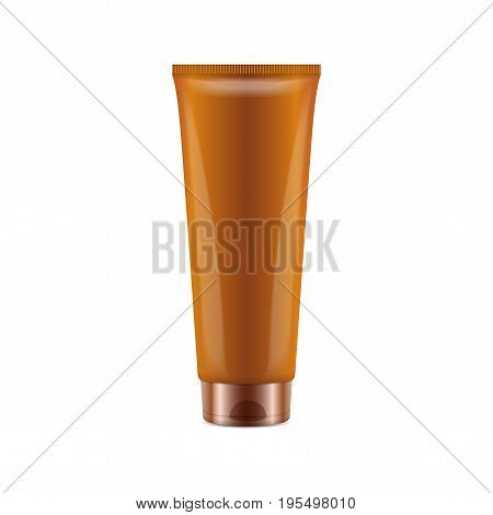 Sunscreen Blank Plastic Pack Tube. Vector Realistic Mock up Template for your design