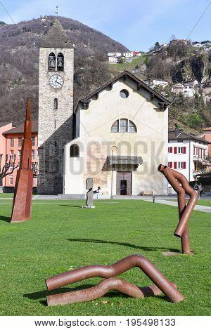 Saint Maria Assunta Church At Bellinzona On Switzerland