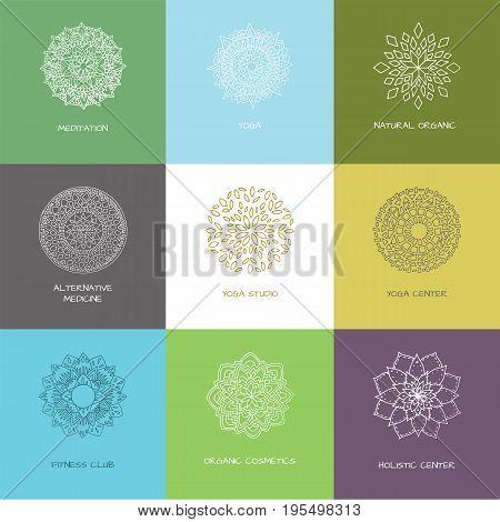 9 logo set in arabic style for yoga studio holistic center and alternative medicine