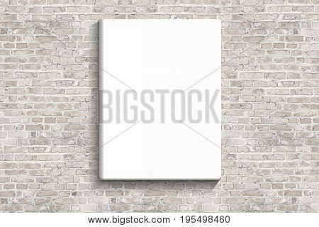 blank posters hanging on the brick white wall of broken painted brick mock up