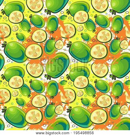 Seamless Pattern Guava Fruits Exotic Ornament Background Vector Illustration