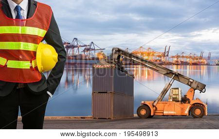 Foreman Or Working Man Control Loading Containers Box