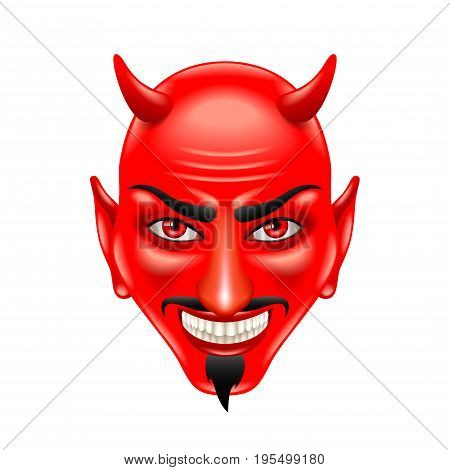 Devil face isolated on white photo-realistic vector illustration