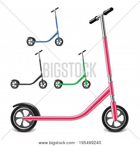 Kick scooter isolated on white photo-realistic vector illustration