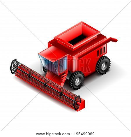 Combine isometric isolated on white photo-realistic vector illustration
