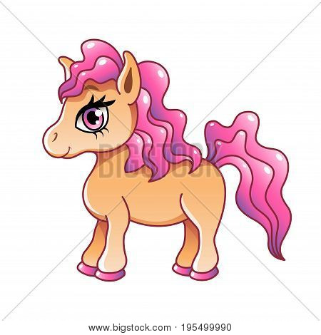 Cute cartoon pony isolated on white photo-realistic vector illustration