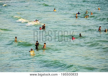 People Play In The Water At Ko Sichang