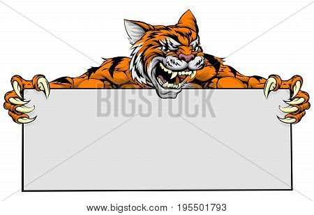 Mean tiger sports mascot character holding a large sign