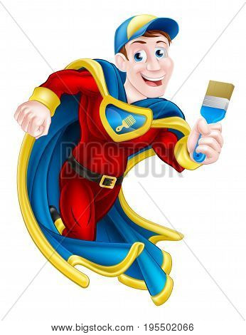 Illustration of a cartoon decorator or painter superhero mascot holding a paintbrush