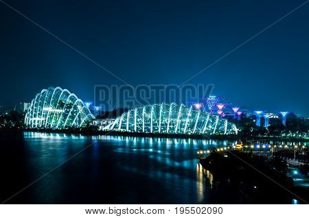 2017-07-15 Singapore Flower Dome night view skyline