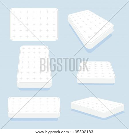 Mattress in all positions set. High-quality modern sprung latex, foam and soft bed for comfortable sleep. Vector illustration on light blue background