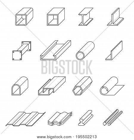 Metal production line art set. Stages and technology conversion of a raw materials. Vector flat style illustration isolated on white background