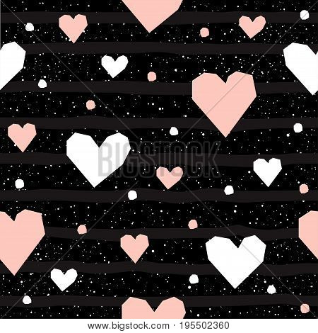 Heart Seamless Background. Abstract Childish Heart Pattern