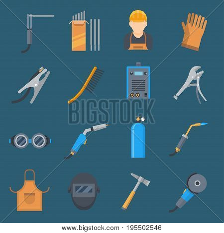 Welding cartoon set. Technology and steel application, service and indusrty. Vector flat style illustration isolated on white background
