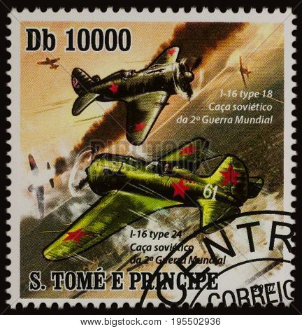 Moscow Russia - July 14 2017: A stamp printed in Sao Tome and Principe shows Soviet fighter aircrafts Polikarpov I-16 Type 18 and Type 24 series