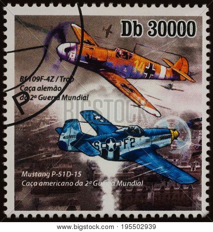 Moscow Russia - July 14 2017: A stamp printed in Sao Tome and Principe shows German fighter Messerschmitt Bf.109F and American P-51D Mustang series