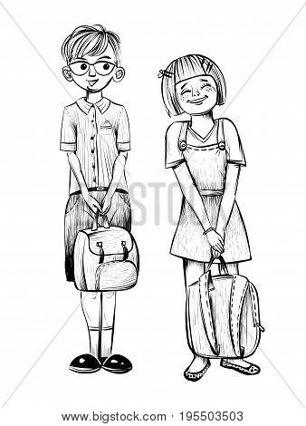 Vector illustration of school children, boy nerd and smiling girl. Hand drawn sketch.