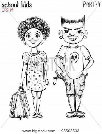 Vector illustration of school children, bully boy with tweaker and girl. Hand drawn sketch.