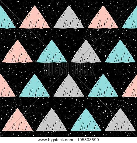 Doodle Triangle Seamless Background. Abstract Blue, Grey And Pink Triangle