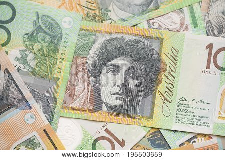 Australian dollar bills on white background, close up