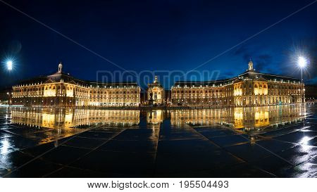 Panoramic image of Place De La Bourse with reflection in Bordeaux France
